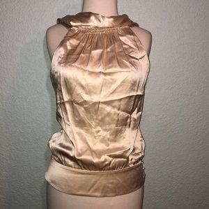 BCBGMaxazria Beige Silk Halter Top